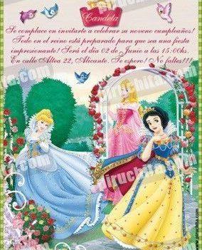Invitación cumpleaños Princesas Disney #02-0