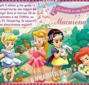 Invitación cumpleaños Princesas Disney Baby #06-0