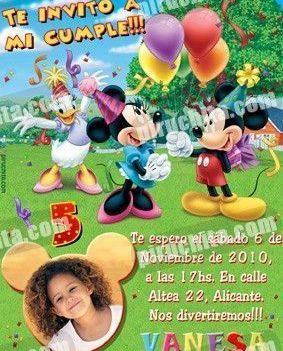 Invitación cumpleaños Mickey y sus amigos #02-0