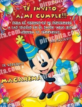 Invitación cumpleaños Mickey y sus amigos #04-0