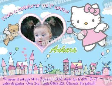 Invitación cumpleaños Hello Kitty #04-0