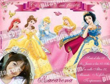 Invitación cumpleaños Princesas Disney #04-0