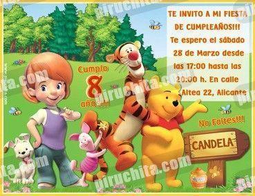 Invitación cumpleaños Winnie Pooh #05-0