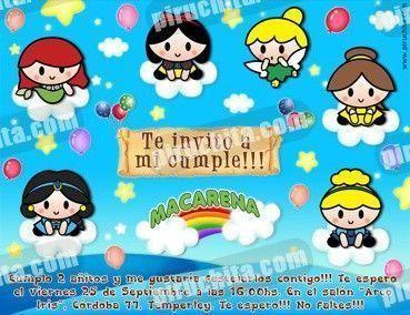Invitación cumpleaños Princesas Disney Baby #09-0