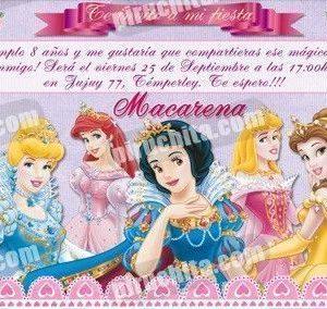 Invitación cumpleaños Princesas Disney #06-0