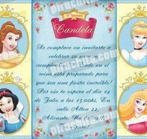 Invitación cumpleaños Princesas Disney #08-0