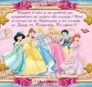 Invitación cumpleaños Princesas Disney #09-0