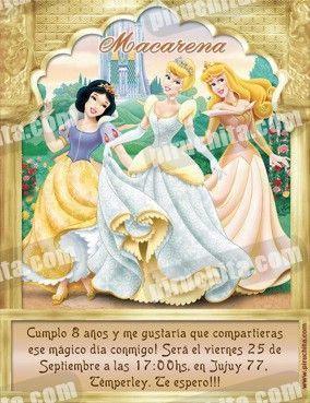 Invitación cumpleaños Princesas Disney Doradas #01-0