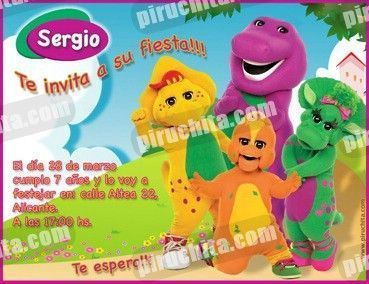 Invitación cumpleaños Barney y sus amigos #1-0