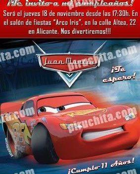 Invitación cumpleaños Cars #12-0