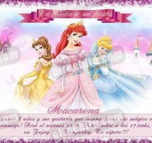 Invitación cumpleaños Princesas Disney #12-0