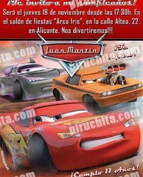 Invitación cumpleaños Cars #13-0