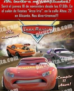 Invitación cumpleaños Cars #14-0