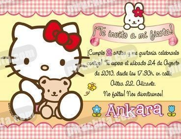 Invitación cumpleaños Hello Kitty #15-0