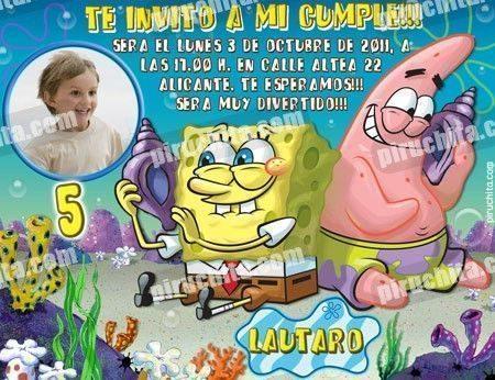 Invitación cumpleaños Bob Esponja #02-0