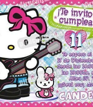 Invitación cumpleaños Hello Kitty #01-0