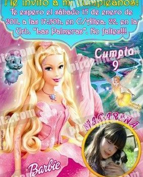 Invitación cumpleaños Barbie #3-0