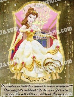 Invitación cumpleaños Princesas Disney Doradas #06-0