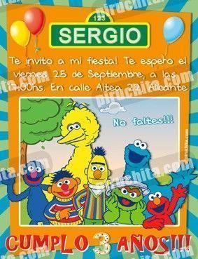 Invitación cumpleaños Barrio Sesamo #6-0