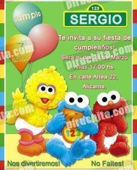 Invitación cumpleaños Barrio Sesamo #7-0
