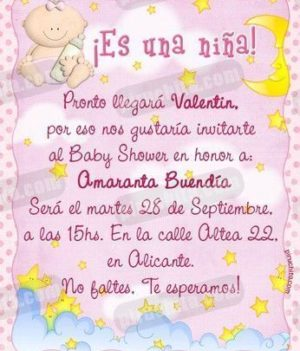 Invitación Baby Shower de niña #01-0