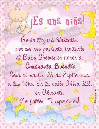 Invitación Baby Shower De Niña 01 Digital Imprimible Piruchita