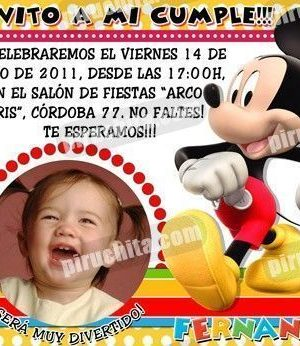 Invitación cumpleaños La Casa de Mickey #09-0