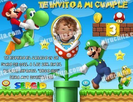 Invitación Cumpleaños Mario Bros 01 Con Foto Digital Imprimible Piruchita