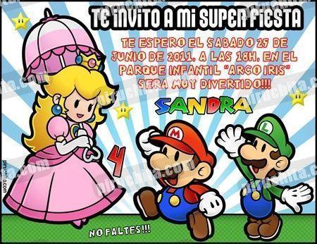 Invitación cumpleaños Mario Bros #10-0