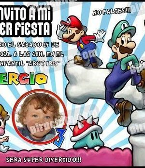 Invitación cumpleaños Mario Bros #08-0