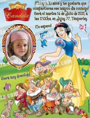 Invitación cumpleaños Blancanieves #02-0