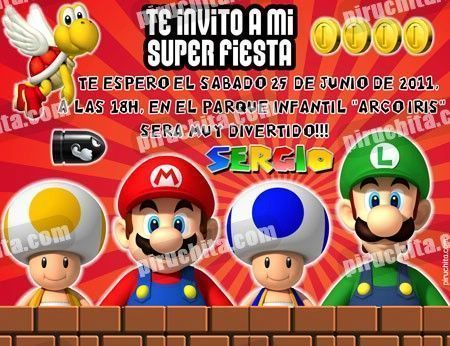 Invitación cumpleaños Mario Bros #04-0