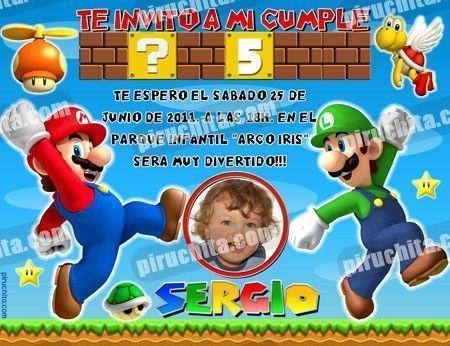 Invitación cumpleaños Mario Bros #05-0