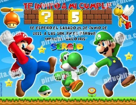 Invitación cumpleaños Mario Bros #06-0