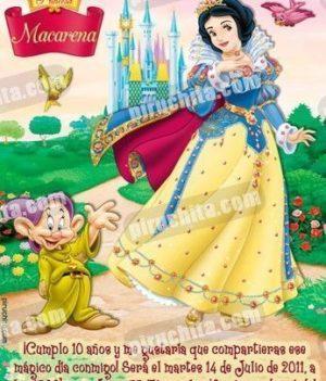 Invitación cumpleaños Blancanieves #06-0