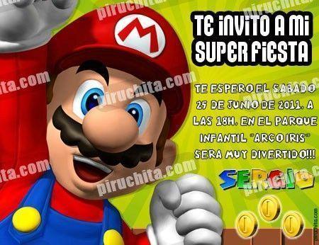Invitación cumpleaños Mario Bros #07-0