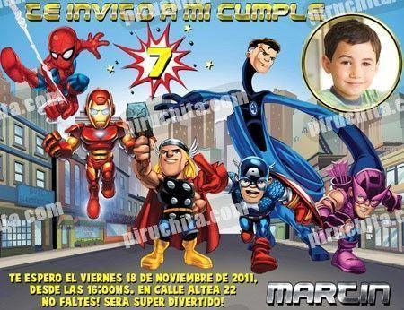 Invitación Cumpleaños Super Heroes Squad 01 Con Foto Digital Imprimible Piruchita