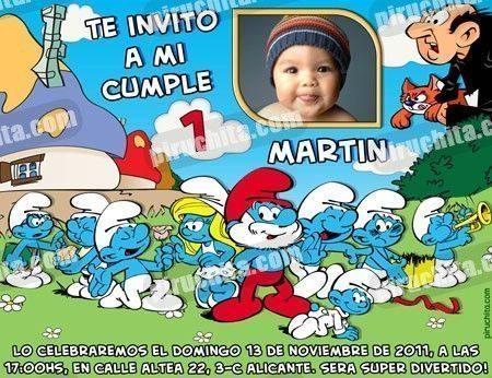 Invitación cumpleaños Los Pitufos #01-0