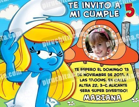 Invitación cumpleaños Los Pitufos #05-0