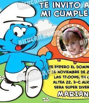 Invitación cumpleaños Los Pitufos #06-0