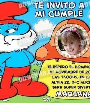 Invitación cumpleaños Los Pitufos #07-0