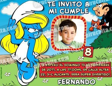 Invitación cumpleaños Los Pitufos #09-0