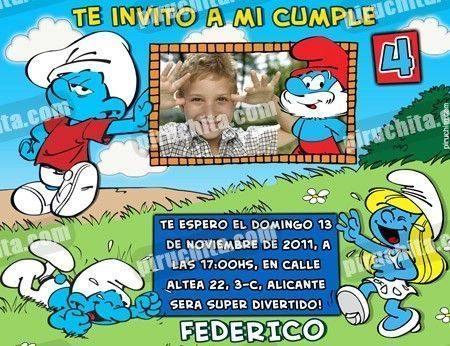 Invitación cumpleaños Los Pitufos #12-0