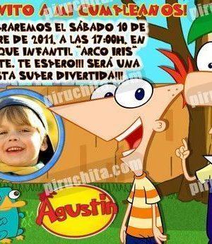 Invitación cumpleaños Phineas y Ferb #01-0