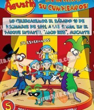 Invitación cumpleaños Phineas y Ferb #03-0