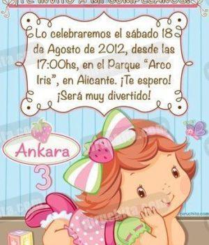 Invitación cumpleaños Tarta de fresa Baby #05-0