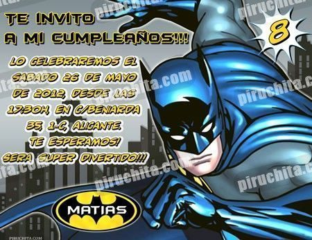 Invitación cumpleaños Batman #03-0