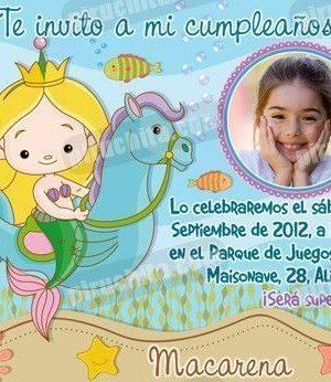 Invitación cumpleaños Sirenas #01-0