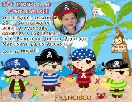 Invitación cumpleaños Piratas #09-0