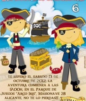 Invitación cumpleaños Piratas #08-0